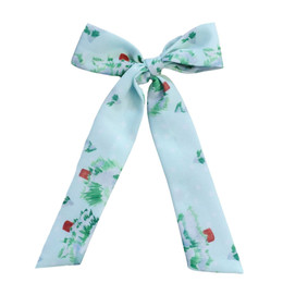 Be Girl Clothing                     Holiday Long Tail Bow - Whimsical Pines **PRE-ORDER**