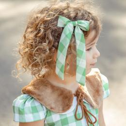 Be Girl Clothing                     Holiday Long Tail Bow - Green Checks **PRE-ORDER**