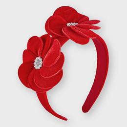 Mayoral        Floral Velvet Headband - Red