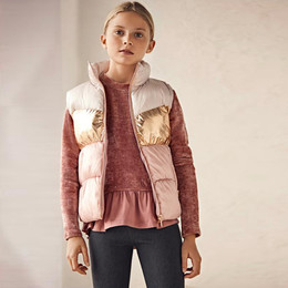 Mayoral        Puffer Vest - Pink / Gold / Pearl