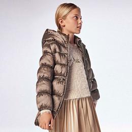 Mayoral        Puffer Coat w/Hood & Cinched Waist - Moca
