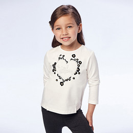 Mayoral        With Love Heart L/S Tee - Natural / Leopard Floral