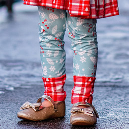 Be Girl Clothing                      Playtime Favorites Boughs Of Holly Contrast Leggings - Boughs Of Holly **PRE-ORDER**