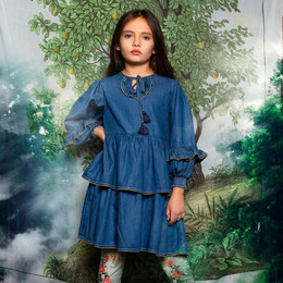 Paper Wings     Shirred Dress with Frills - Faded Indigo