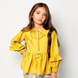 Paper Wings     Shirred Top with Frills - Light Gold