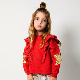 Paper Wings     Relaxed Fit Frilled Sweatshirt - Vintage Red w/Gold Stars