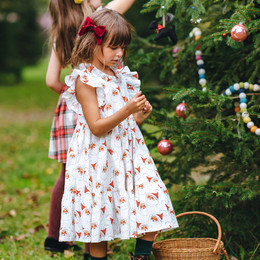Pink Chicken         Holiday Jennifer Dress - Antique White Santas