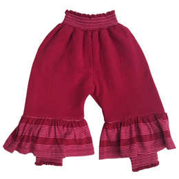 Paper Wings Pink Stripes Bloomer Trackies with Frills - Maroon / Pink