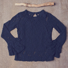 Jak & Peppar Lace On My Mind Top - Navy Bean