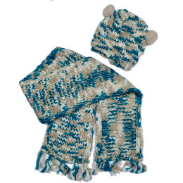 Mayoral 2pc Pom Poms Scarf & Cap Set - Multi