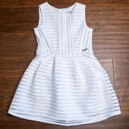 Mayoral Striped Netting Panel Dress - White