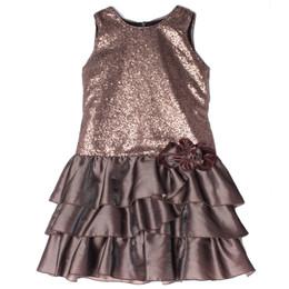 Isobella & Chloe Mocha Swirl Drop Waist Tiered Dress
