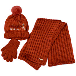 Mayoral 3pc Hat Scarf Gloves Set - Granate