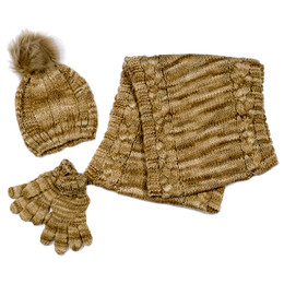 Mayoral 3pc Hat Scarf Gloves Set - Camel