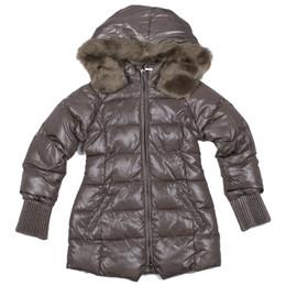 Mayoral Faux Fur Hooded Sparkling Puffer Jacket - Cafe