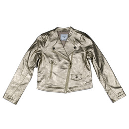 Mayoral Faux Metallic Leather Asymmetric Zip Jacket - Champan