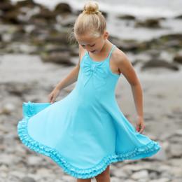 Lemon Loves Lime Secret Lagoon Bow Pretty Dress - Bachelor Blue