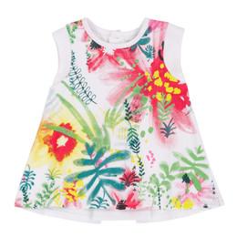 Deux Par Deux Summer Talk Knit Tunic Top - Foliage Print