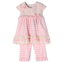Isobella & Chloe Bubbles 2pc Tunic & Pant Set - Light Pink
