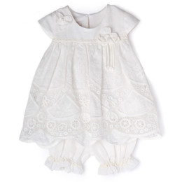 Isobella & Chloe Prairie 2pc Tunic & Bloomer Short Set - White