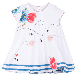 Catimini Graphic Floral Secret Garden Fox Bubble Dress