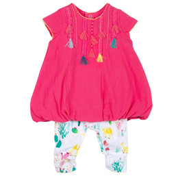 Catimini Nomade Garden Oasis 2pc Tassel Tunic & Legging Set