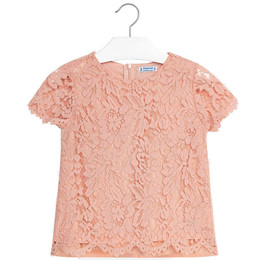 Mayoral Lace Overlay Blouse - Peach
