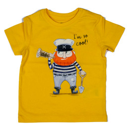 Mayoral Ahoy Mate I'm So Cool Pirate Tee - Mustard