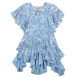 Paper Wings Eastern Butterflies Flared Sleeve Frilled Dress