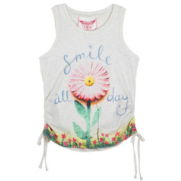 Paper Wings Smile All Day Drawstring Singlet Tee