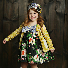 Mustard Pie English Blue Juniper Dress - Black Floral (*New Style!*)