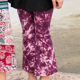 Joyous & Free Road Trip Fit N' Flare Pant - Wine Tie Dye