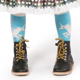 Paper Wings Knee High Socks - Unicorns Blue