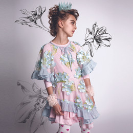 Paper Wings Embroidered Tulle Frill Dress - Flower Garden