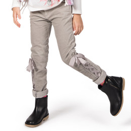 Paper Wings Velvet Jeans with Bows - Light Grey