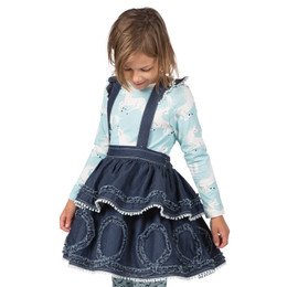 Paper Wings Frilled Skirt with Braces - Indigo