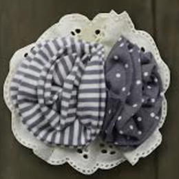 Mustard Pie Vintage Violet Ella Hairclip - Cream Grey Stripe