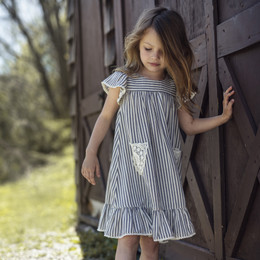 Little Prim Ryan Dress - Ticking Stripe (*Lace Top Sold Separately*)