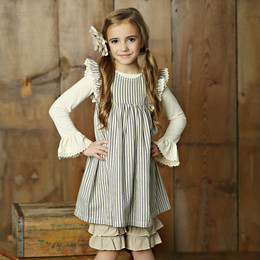 Little Prim Violet Dress - Ticking Stripe (*Top Sold Separately*)