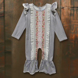 Little Prim Ollie Romper - Ticking Stripe