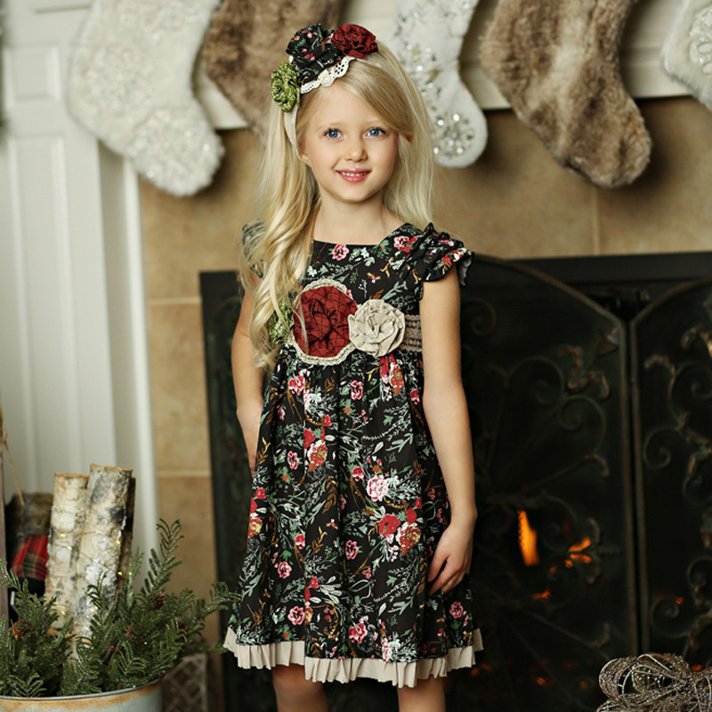 0575c7c519 ... Mustard Pie Holiday Delphine Party Dress ( Sash Included! ) - Winter  Floral. Image 1