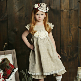 Mustard Pie Holiday Delphine Party Dress (*Sash Included!*) - Bisque