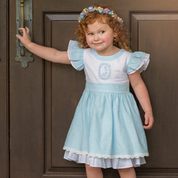 Evie's Closet Blue Linen Bunny Pinafore Dress