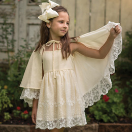 Evie's Closet Linen & Lace Cape Dress