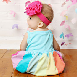 Lemon Loves Lime Layette Rainbow Bubble Romper - Blue Radiance