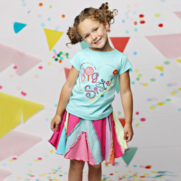 Lemon Loves Lime Big Sister Tee - Aruba Blue
