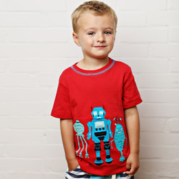 Lemon Loves Lime Gnu Brand Three Musketeers Robot Tee - True Red
