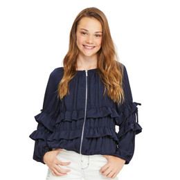 Habitual Girl Maribelle Ruffle Jacket - Navy