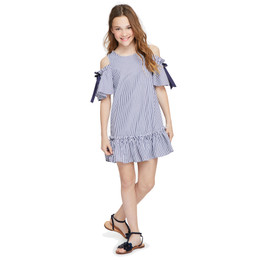 Habitual Girl Nancy Cold Shoulder Dress - Stripe