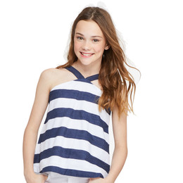 Habitual Girl Harriet Stripe Baby Doll Top - Navy